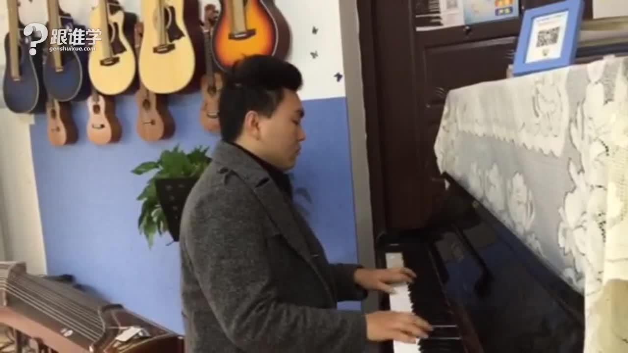 绒花c调钢琴简谱双手