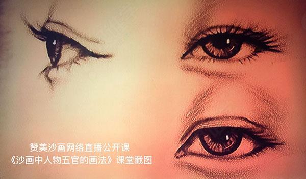 《沙画中人物五官的画法》内容:男女正面眼睛及眉毛画法,男女侧面眼睛