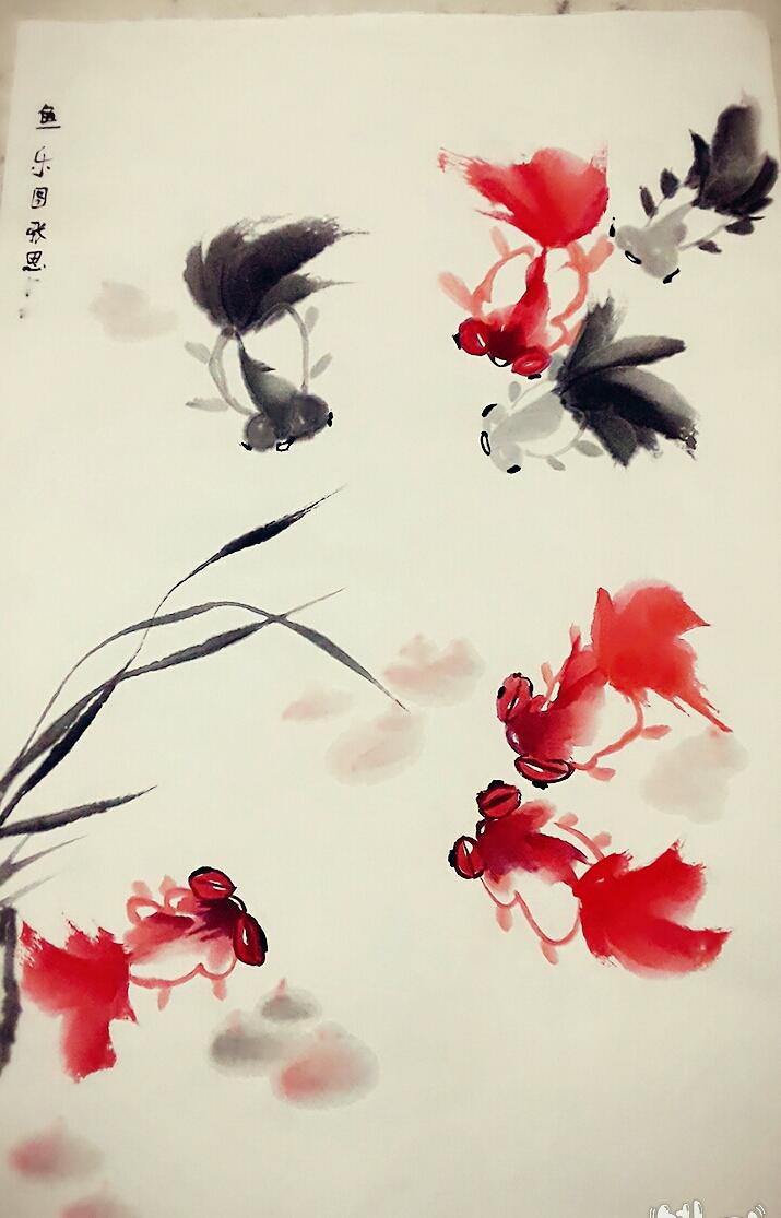 以大量的花草,植物,金鱼写意让儿童初步掌握国画绘画时的用笔用墨