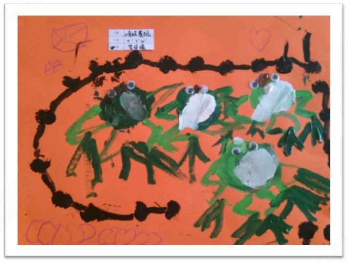 幼儿荷花蝌蚪国画作品图片