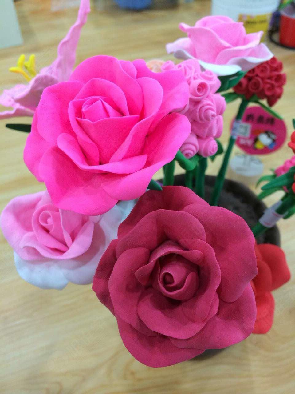 彩泥手工制作花盆栽