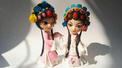 中国传统手工制作软陶戏曲娃娃