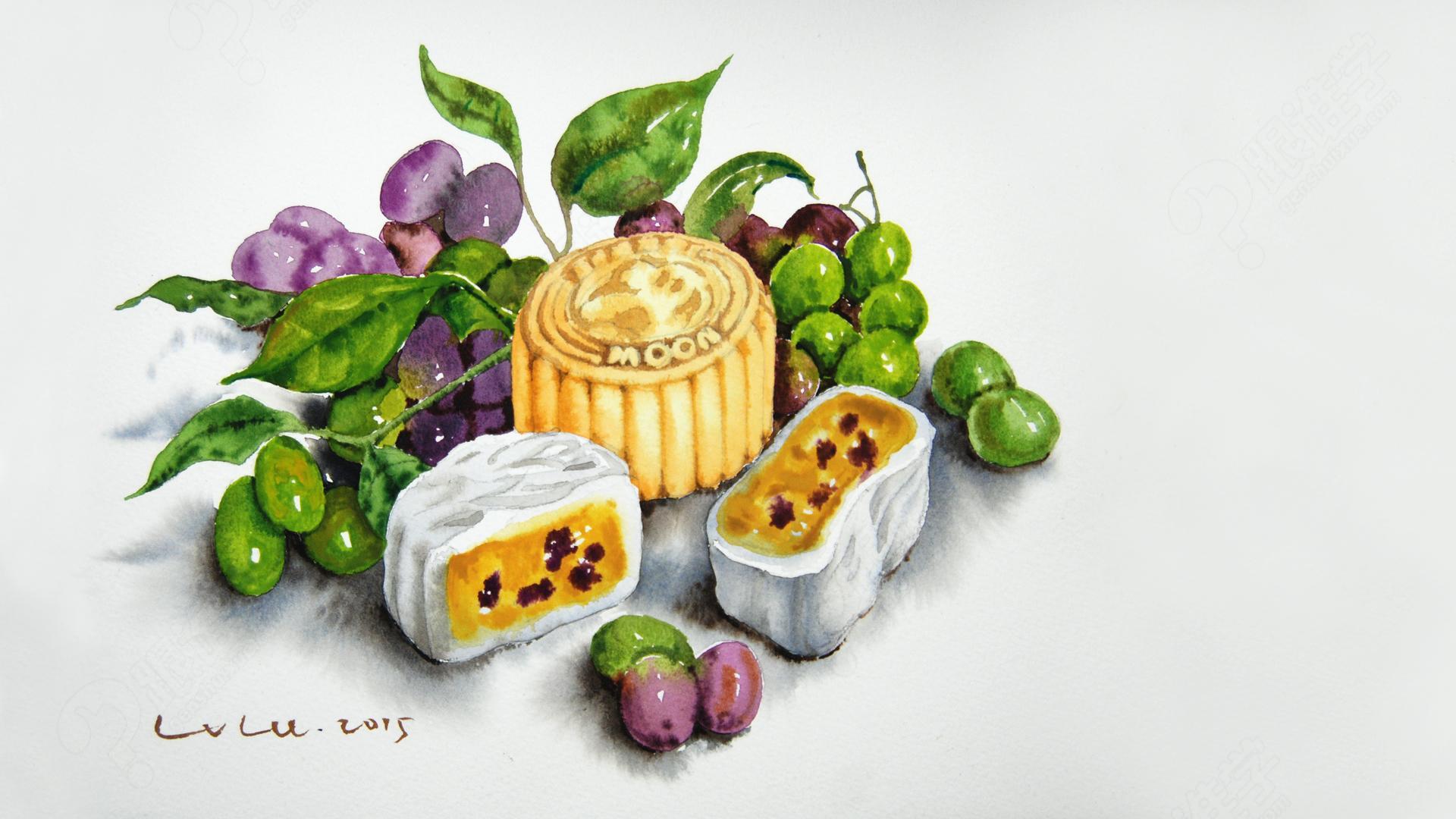 【视频】水彩静物教学视频【月饼和水果】