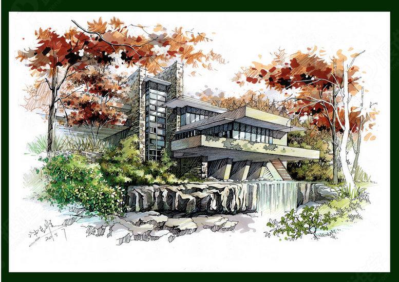 西安建筑马克笔手绘
