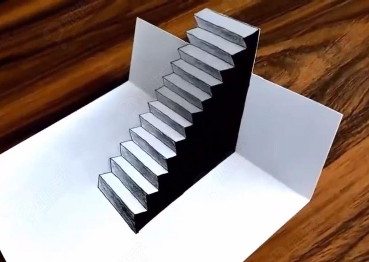 手绘3d立体画教程-入门级3d楼梯o基础
