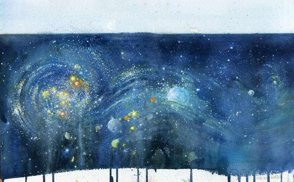 零基础水彩星空 浩瀚星空等你来创作