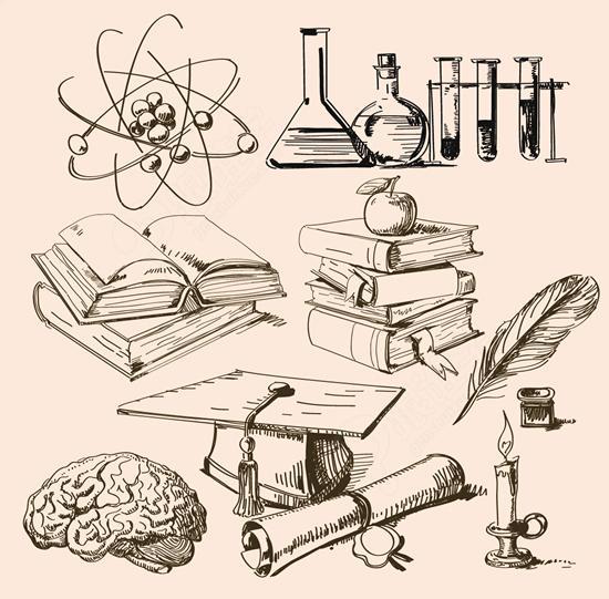 手绘化学实验器材