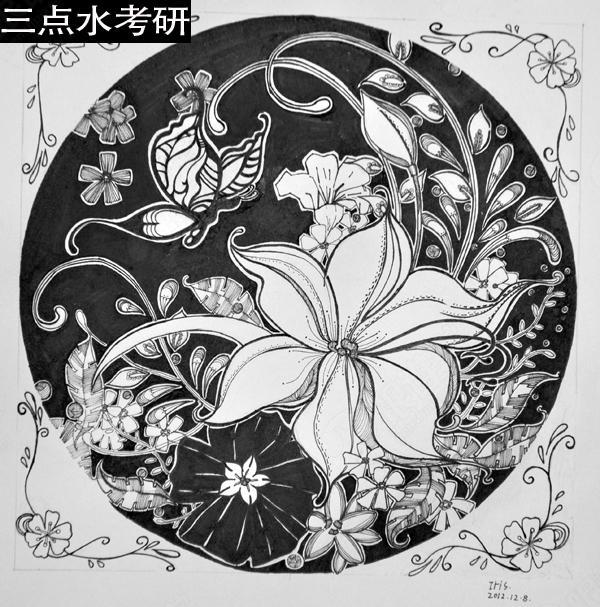 艺术考研黑白装饰画_考研专业课
