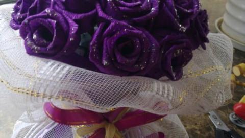 皱卷纸玫瑰花制作