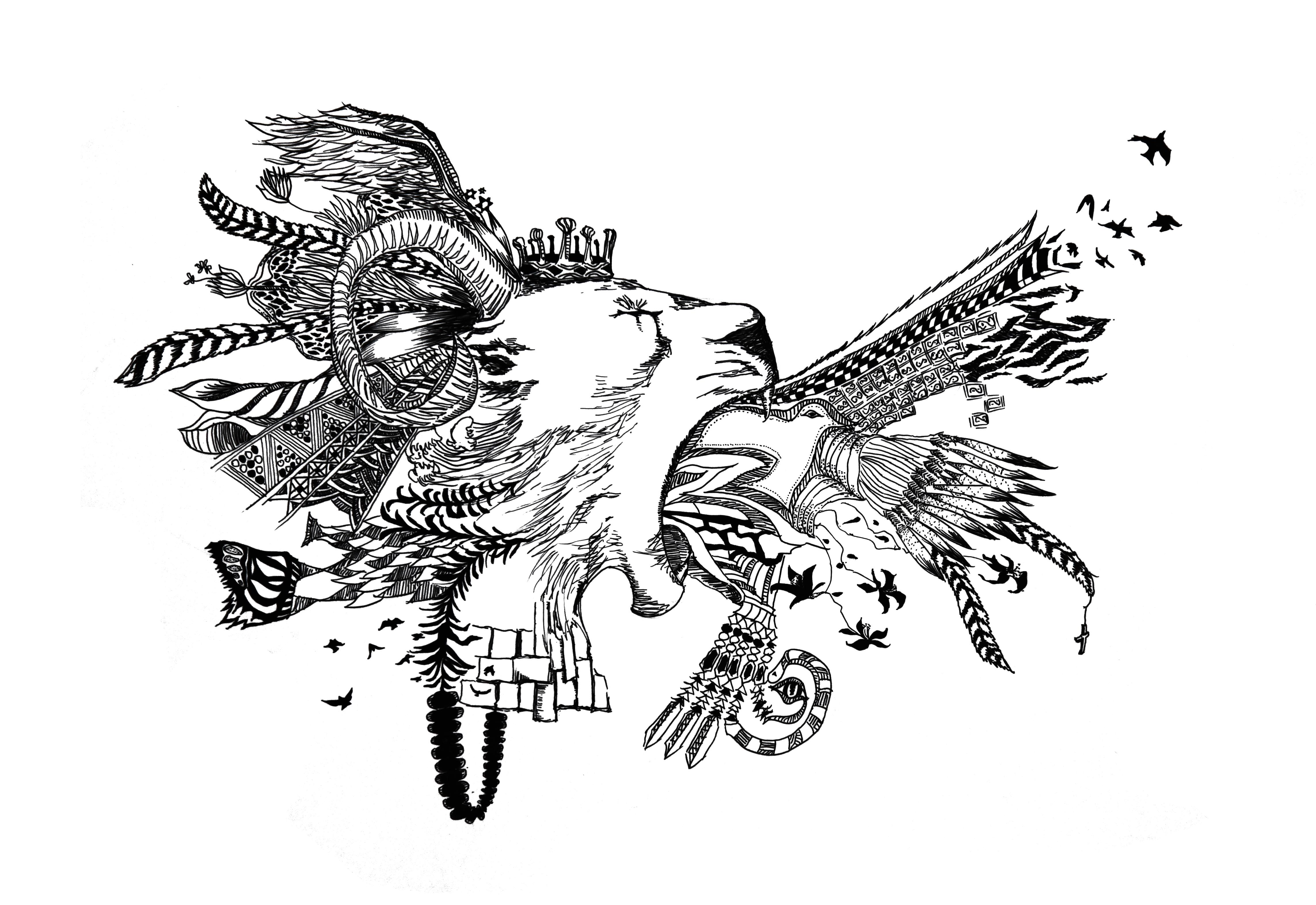 艺术培训 绘画培训 插画培训  图腾插画课程主要以黑白钢笔画为主.