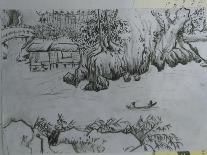 中国炭笔画分享