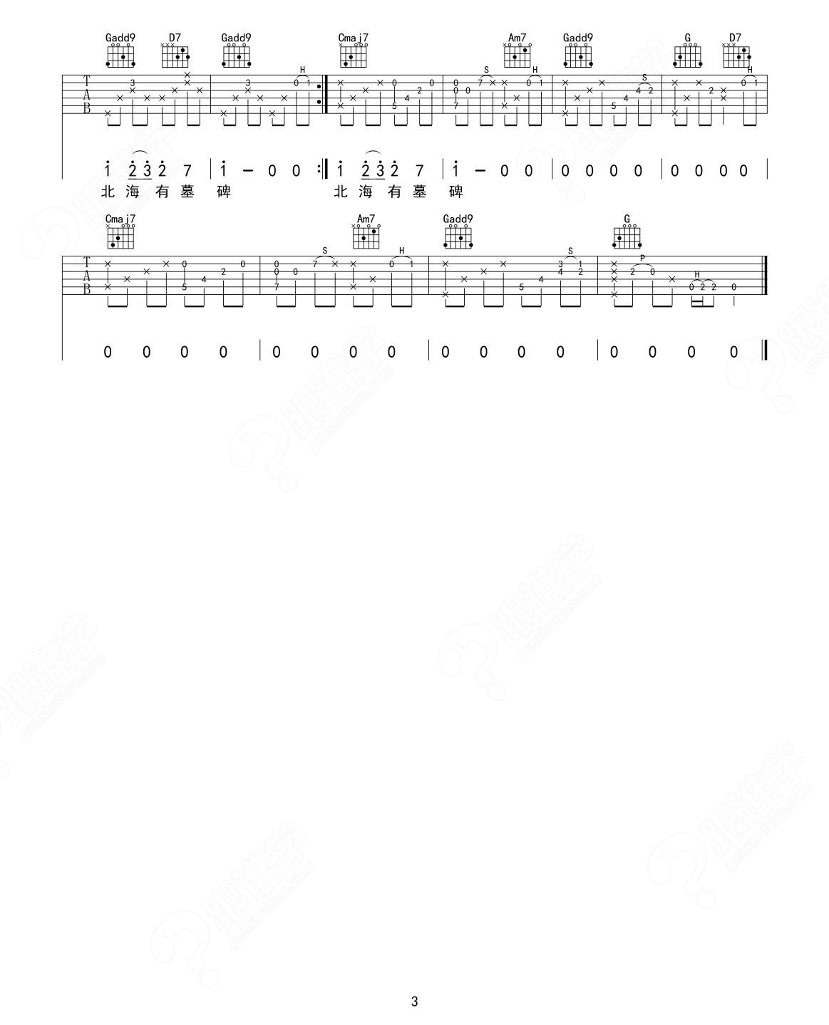 马頔-《南山南》 吉他谱 教学版