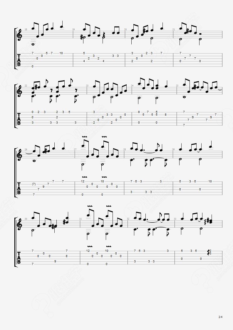 天空之城 教学版 吉他谱