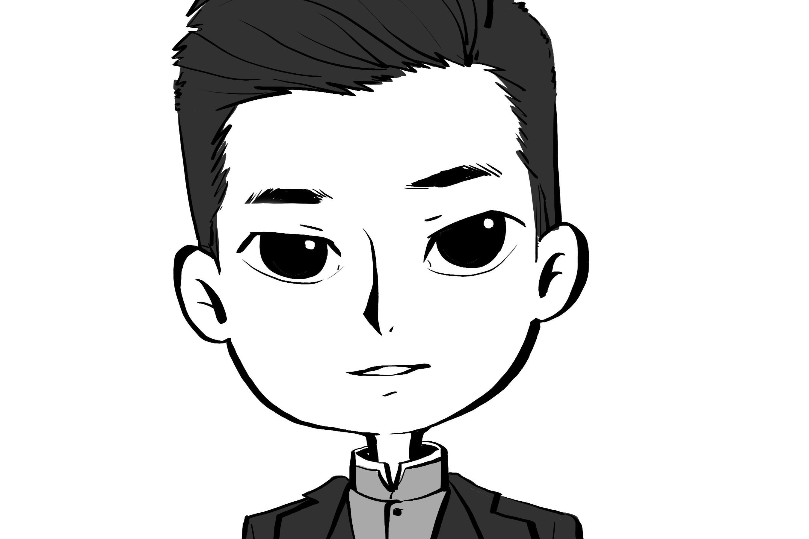 黑白卡通人物线稿(勾线)